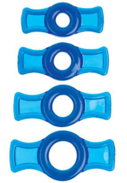 Cock-Ring set of 4 Blue