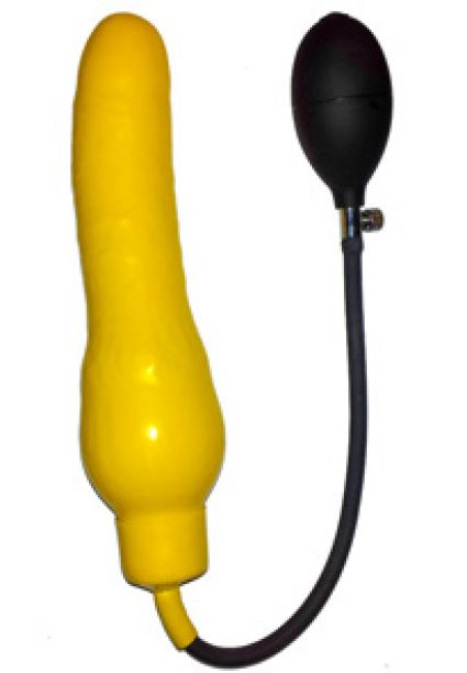 Inflatable Rubber Dildo 9'' x 2'' approx. Yellow