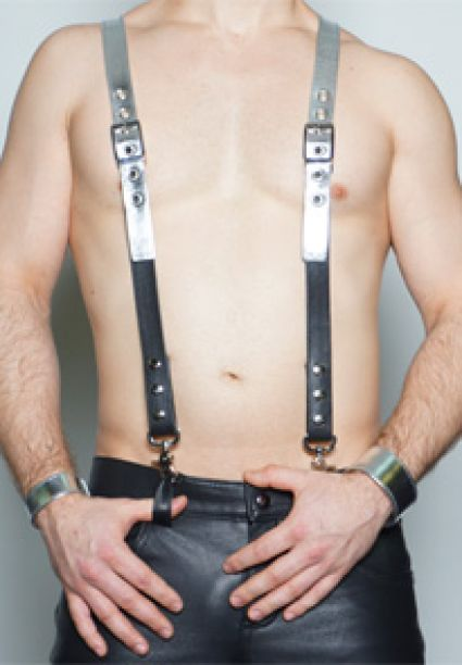 Silver Leather Suspenders