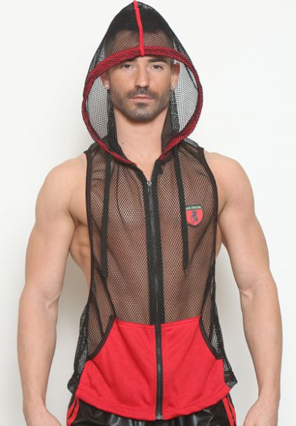 Sleeveless Mesh Zip Hoodie Red
